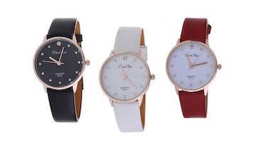 PU Leather Round Dial Watch