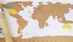 Colourful 'scratchie' world map, $19