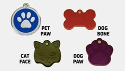 Pet ID tags. Four styles