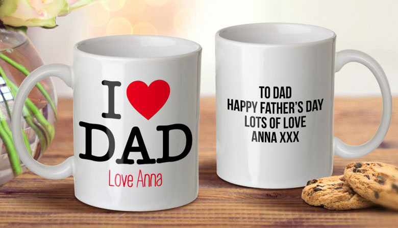 Personalised Father's Day mug, $12.