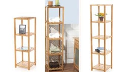 Versatile bamboo storage shelves, $29.
