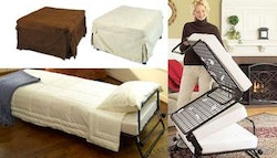 Folding ottoman single sofa bed