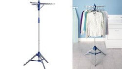 Collapsible portable clothes rack, $29.