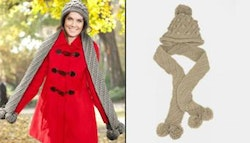 Italian designed knitted hooded scarf,