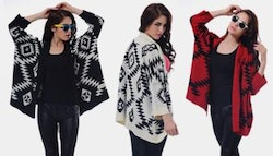 Trendy Aztec patterned oversized knit