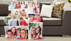 Personalised photo collage fleece blanket,